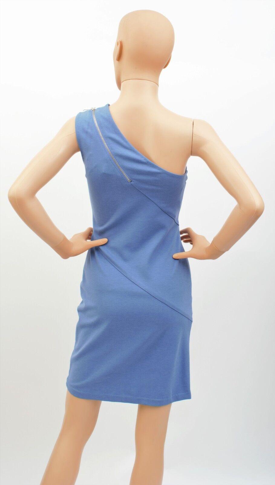 NWT WOMEN'S HALSTON HERITAGE ONE SHOULDER SHOULDER SHOULDER GALAXY (blueE) ZIP SHIFT DRESS - SIZE 0 66ba6f