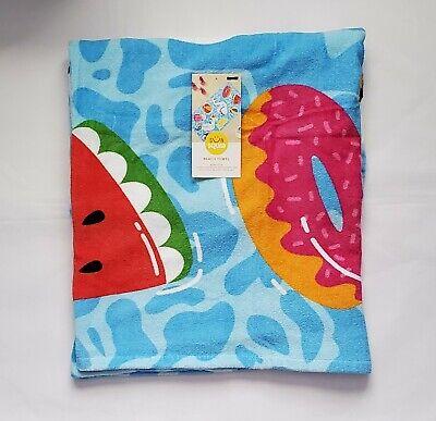 """SUN SQUAD 100/% Cotton Palm Leaf Beach TowelGreen62/""""x32/""""NWT"""