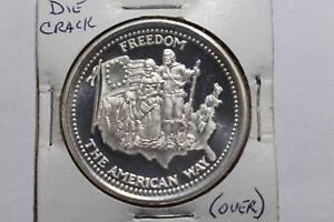 1-OZ-999-Silver-Art-Round-The-American-Way-Johnson-Matthey-1985