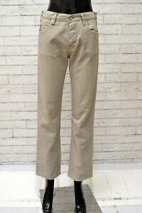 Pantalone-ARMANI-Donna-Taglia-28-Jeans-Pants-Woman-Cotone-Beige-Gamba-Dritta