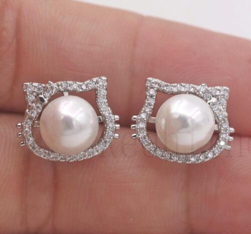 18K or blanc rempli-Creux Chat Chaton Noeud Perle Topaz Stud Partie Boucles d/'oreilles