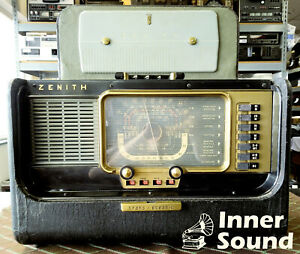 Vintage-Zenith-Trans-Oceanic-Wavemagnet-Tube-Radio-SW-Multi-Band-Portable-H500
