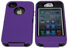 iPhone 4 4S 4G Black Three-layer Hybrid Body Armor Rubber Silicone Cover Case