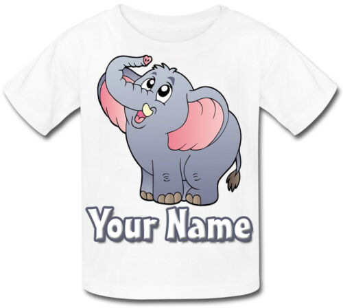 GREAT GIFT FOR ANY CHILD /& NAMED CARTOON ELEPHANT PERSONALISED KIDS T-SHIRT