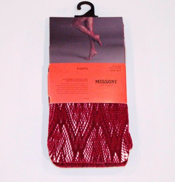 6d6166859 MISSONI for TARGET Fishnet OPENWORK Pantyhose TIGHTS Shiny M T ROSE WINE