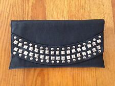 Forever 21 Studded Black Clutch w Removable Interior Wallet