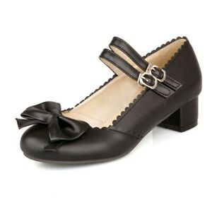 Lolita-Womens-Bowknot-Block-Heel-Ankle-Strap-Sandals-Mary-Janes-Cosplay-Shoes-Sz