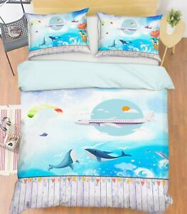 3D-Aircraft-Dolphin-ZHUA144-Bed-Pillowcases-Quilt-Duvet-Cover-Set-Queen-King-Zoe