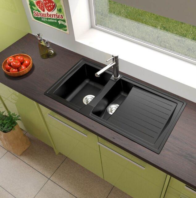 lavandino lavello incasso cucina mineralite 100 x 50 nero respekta