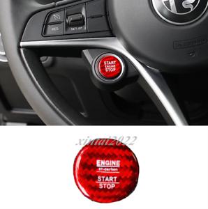 Red Carbon Fiber Start Stop Engine Button Cover for Alfa Romeo Giulia//Stelvio 2017-2019