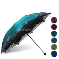 Womens Super Windproof Anti-UV Parasol Sun Rain Protection Folding Umbrella