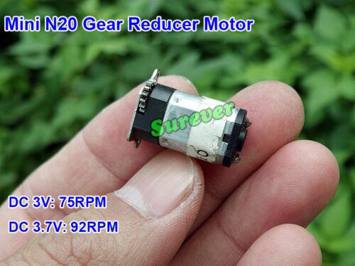 Mini Micro N20 Metal Gear Reducer Motor DC 3V 3.7V 92RPM Output Gear Wheel DIY
