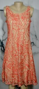 PERCEPTIONS Coral Beige Lace Sleeveless Dress Small Lined Vertical Seaming