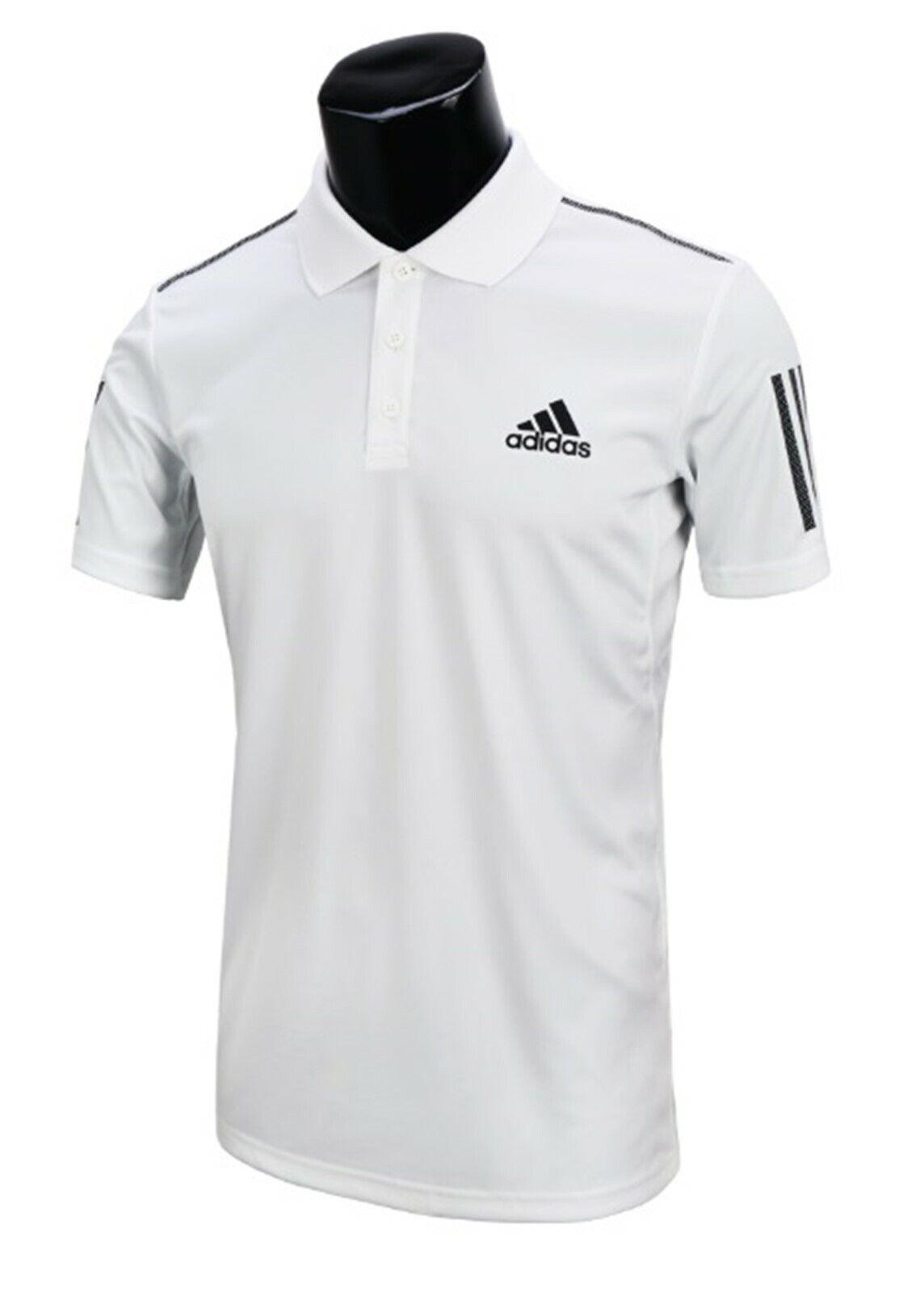 Adidas Men CLUB 3S Polo T-Shirts S S Jersey White Training Tee GYM Shirt DU0849