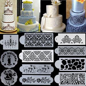 Flower-Lace-Cake-Side-Border-Cupcake-Stencils-Sugarcraft-Decor-DIY-Baking-Molds