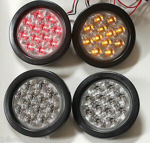 4 Led 4 Quot Round Stop Turn Tail Light Kits 2 Red 2 Amber