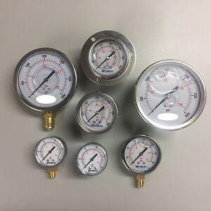 Pressure-Gauge-50mm-63mm-100mm-Dial-Bottom-amp-Back-Connection-Pneumatic-Air-Range