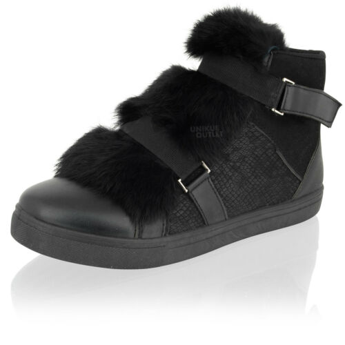 Womens Ladies Hi Top Fur Flat Pom Pom Trainers Sneakers Ankle Boots Shoes Size