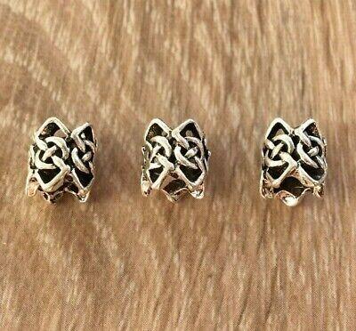 Set of 4 silver tone alloy tube dreadlock hair braid beard beads 4.5mm 5mm UK