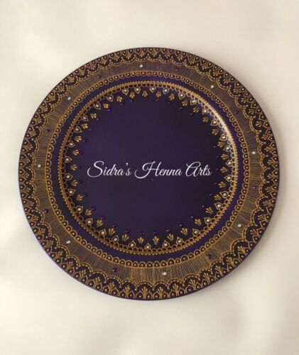 Henna Personalised /& Designed In All Colours Mehndi Thaal Plates