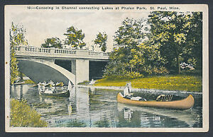 Canoeing-in-Phalen-Park-St-Paul-Minnesota-MN-canoe-postcard