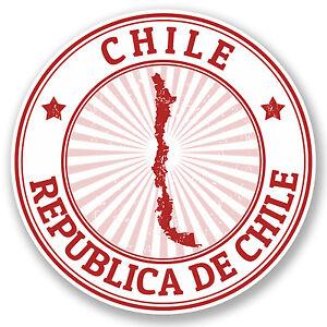 2 x Chile Flag Map Vinyl Sticker Travel Car Luggage #9018