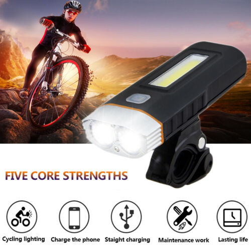 USB Rechargeable Bicycle Bike Lights LED T6+COB Front Lamp Headlight Taillight