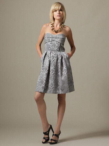 345 Cynthia Steffe Metallic Jacquard Anne Strapless Dress