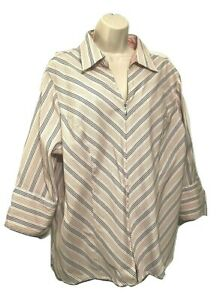 Fashion Bug Stretch Women's Plus 26/28 Blouse Front Zip Striped 3/4 Sleeve Top