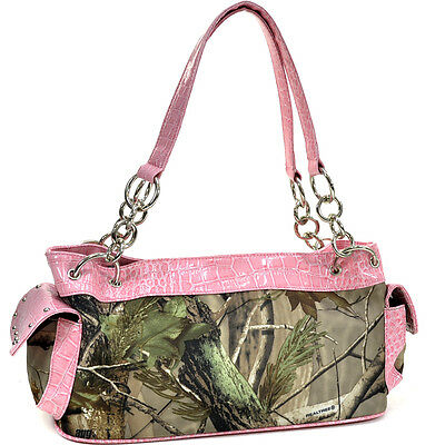 Realtree Studded Shoulder Bag Camouflage Handbag Leather Bag Crocodile Tim Bag