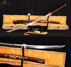 New T10 Steel Clay Tempered Samurai Sword Katana Full Tang Hamon Blade Sharp
