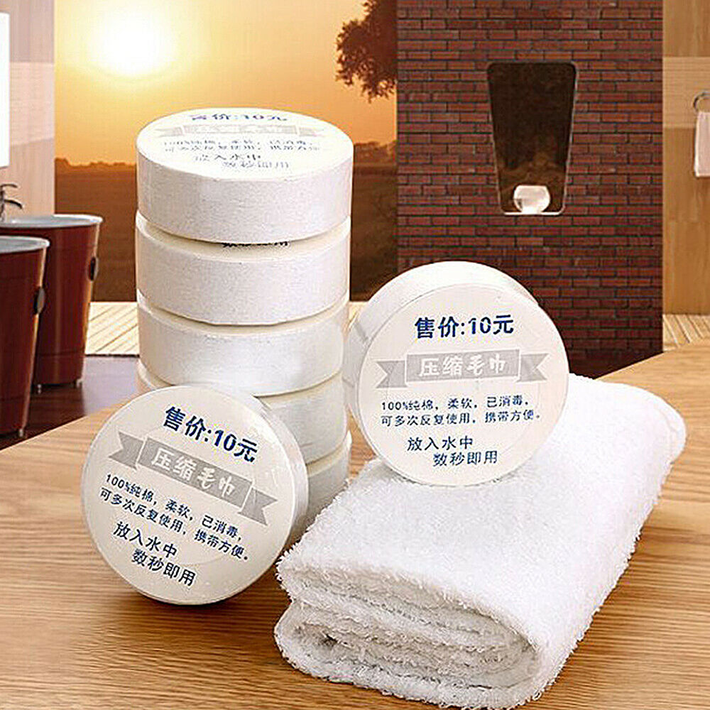 JF_ Portable Travel Compressed Towel Washcloth Reusable Cotton Face Towels  Su Bath
