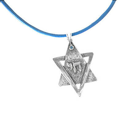 Pendent Size: 2.25Tall x 1.5 Wide Necklace Pewter Star of David Pendent Chai Hebrew Leather String Size: 17.5 Hand Made by DANON Jewelry