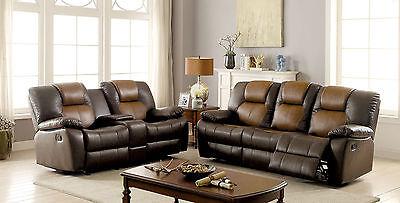 Modern Beautiful Two Tone Design Brown 3pc Sofa Set Sofa Loveseat Recliner  Couch   eBay