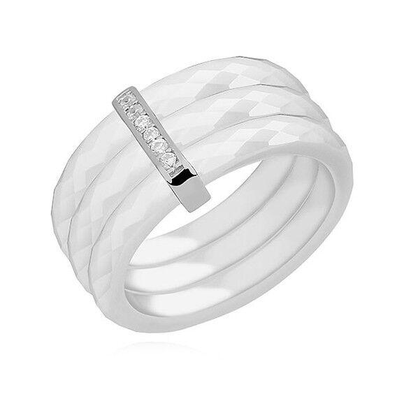 Bague 3 anneaux céramique céramique céramique biancahe et argento rhodié   zirconium - Dimensione 54 50b5ea
