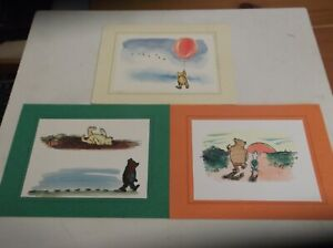 3 MOUNTED WINNIE THE POOH POSTCARDS