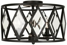 15 in. Bronze Prismatic Glass Ceiling 3-Light Fixture Flush Mount Drum Shade New
