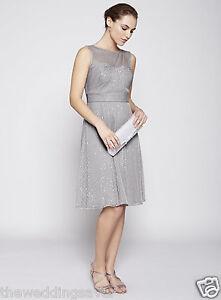 BNWT-BHS-8-Juliet-Silver-Grey-Short-yolk-top-sequin-Bridesmaid-Dress