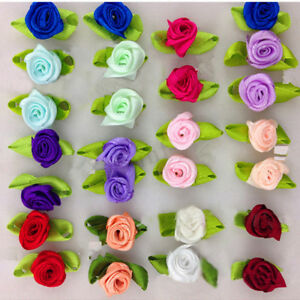 100x-Mini-Satin-Ribbon-Roses-Flowers-Bow-Wedding-Decor-Appliques-Sewing-Crafts