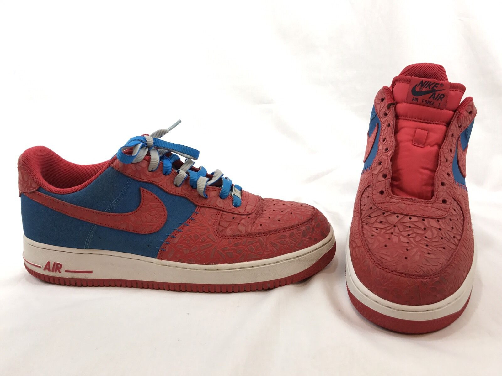 Nike Air Force 1 Low Photo Blue Hyper Red Shoes 488298-412 Sz 13 Elephant Print