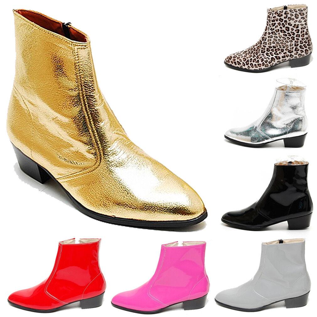 Epicsnob Mens Shoes Genuine Cow Leather Dress Ankle Boots Silver Gold Black