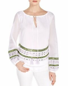 New Tory Burch Madeline Sequin Hem Cotton Peasant Blouse Top White