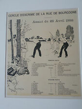 Lithographie originale-Programme Illustré-1897-Henry Gerbault-Cercle d'Escrime