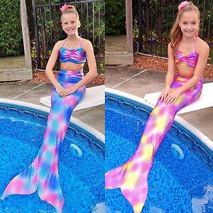 3PCS Girls Kids Swimmable Mermaid Tail Bikini Set Bathing