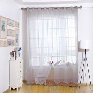 Voilage Rideau à œillets Blanc En Gaze Décoration Pour Porte Fenêtre