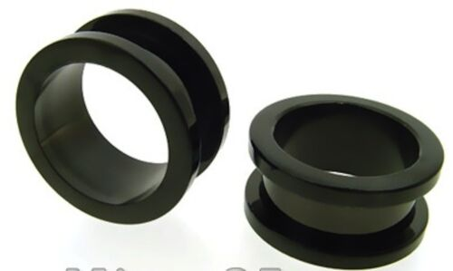 PAIR 11//16 INCH 18MM EARLETS BLK FLESH TUNNELS PLUGS
