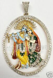 315ct round diamond 14k yellow gold radha krishna pendant ebay image is loading 3 15ct round diamond 14k yellow gold radha aloadofball Images
