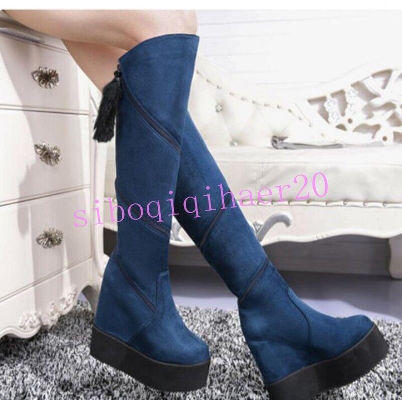 Nuevo Para mujeres Cremallera Zapatos Gamuza Plataforma Oculta Tacón chocar Toe la rodilla botas altas caliente
