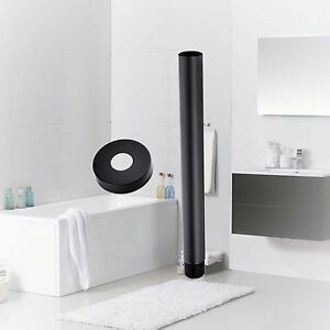Bath-Black-Matte-200mm-Shower-Arm-Rose-Round-Tube-Ceiling-Brass-Extension-Arm