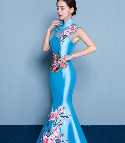 Women Wedding Dress Chinese Cheongsam QiPao Fishtail Evening Long Bodycon Gown